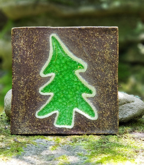 Green Glass Tree Tile Coaster