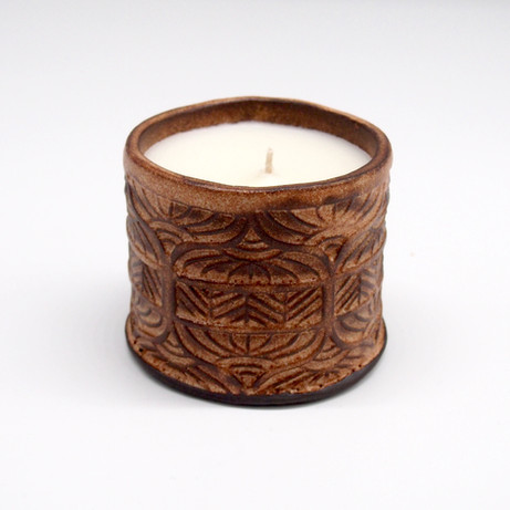 Stamped Rusty Vessel with Candle