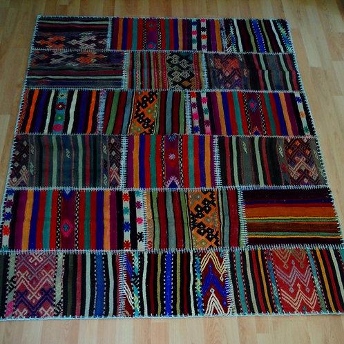 Turkish Vintage Anatolian Handmade Patchwork Kilim Rug