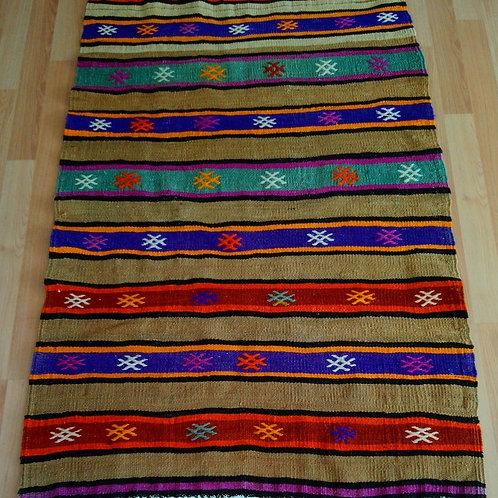 Turkish Fethiye Alara Handmade Vintage Kilim Rug