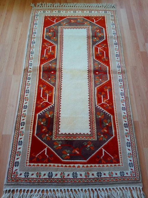 Turkish Milas Handmade Tile Red Runner Rug