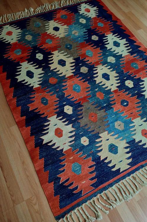 Turkish Oushak Handmade Vintage Kilim Rug
