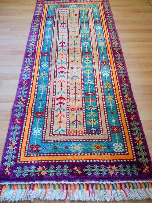 Turkish, Shall Handmade Purple Runner Rug
