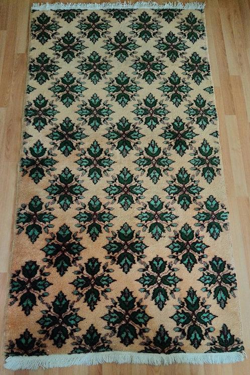 Turkish, Isparta, Handmade Vintage Green Rug