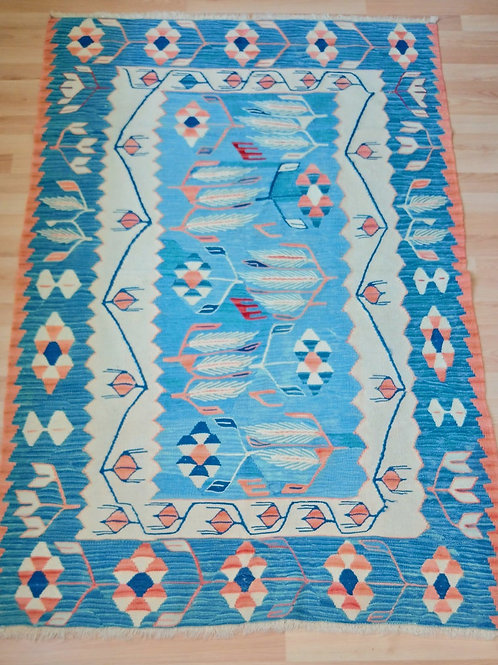 Turkish Afyon Bayat, Very Rare Vintage Blue Kilim Rug