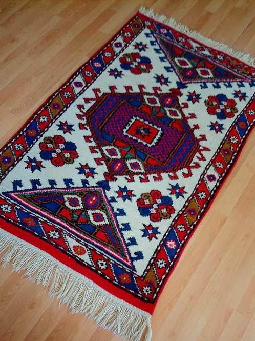 Turkish, Canakkale Ayvacik Vegetable Dyed Small Red Rug