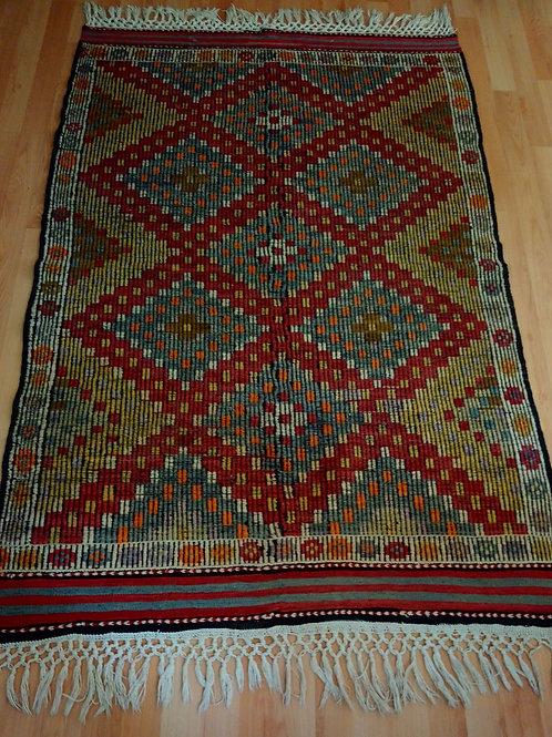 Turkish Handmade Cicim Kilim Rug, Hand-knotted Denizli, Cal Kilim Rug