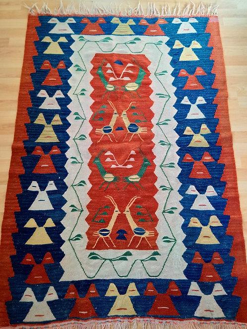 Turkish Handmade Vintage Wool Kilim Rug