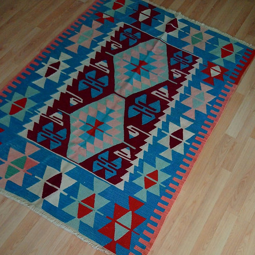 Kayseri Bunyan, Handmade Vintage Kilim Rug, Light Blue and Claret Red