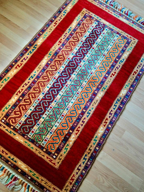 Turkish Sivas, Shall Handmade Anatolian Red Rug