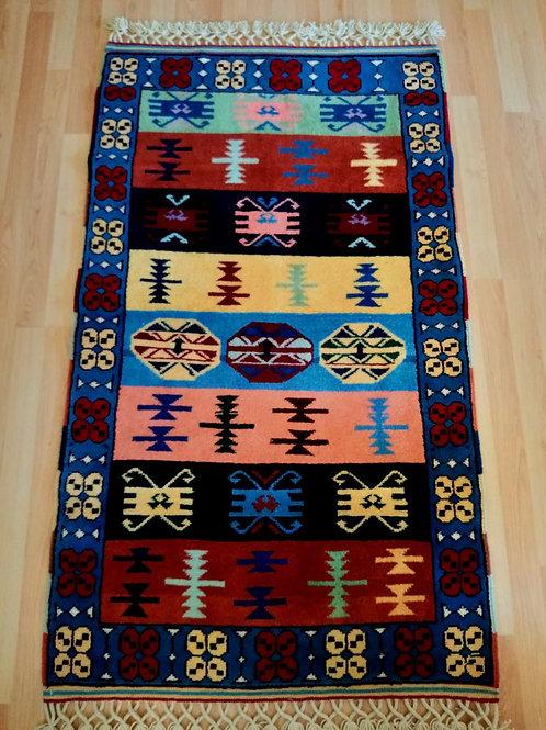 Turkish Sivas Anatolian Blue Handmade Rug