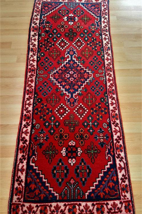 Persian Semi Antique Vintage Handmade Red Runner Rug
