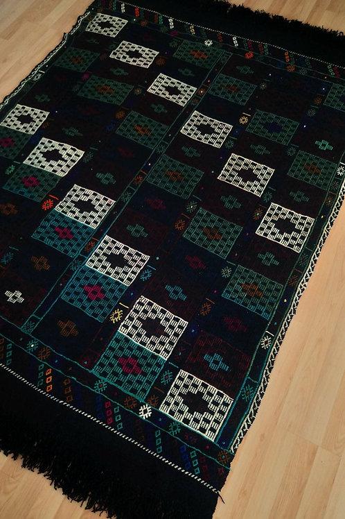 Turkish, Handmade Very Rare Vintage Black Kilim Rug