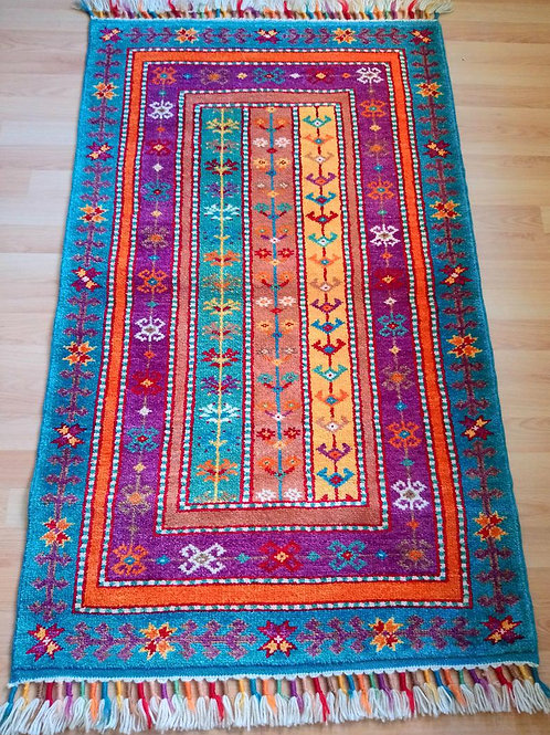 Turkish Sivas Shall Handmade Anatolian Turquoise and Purple Rug