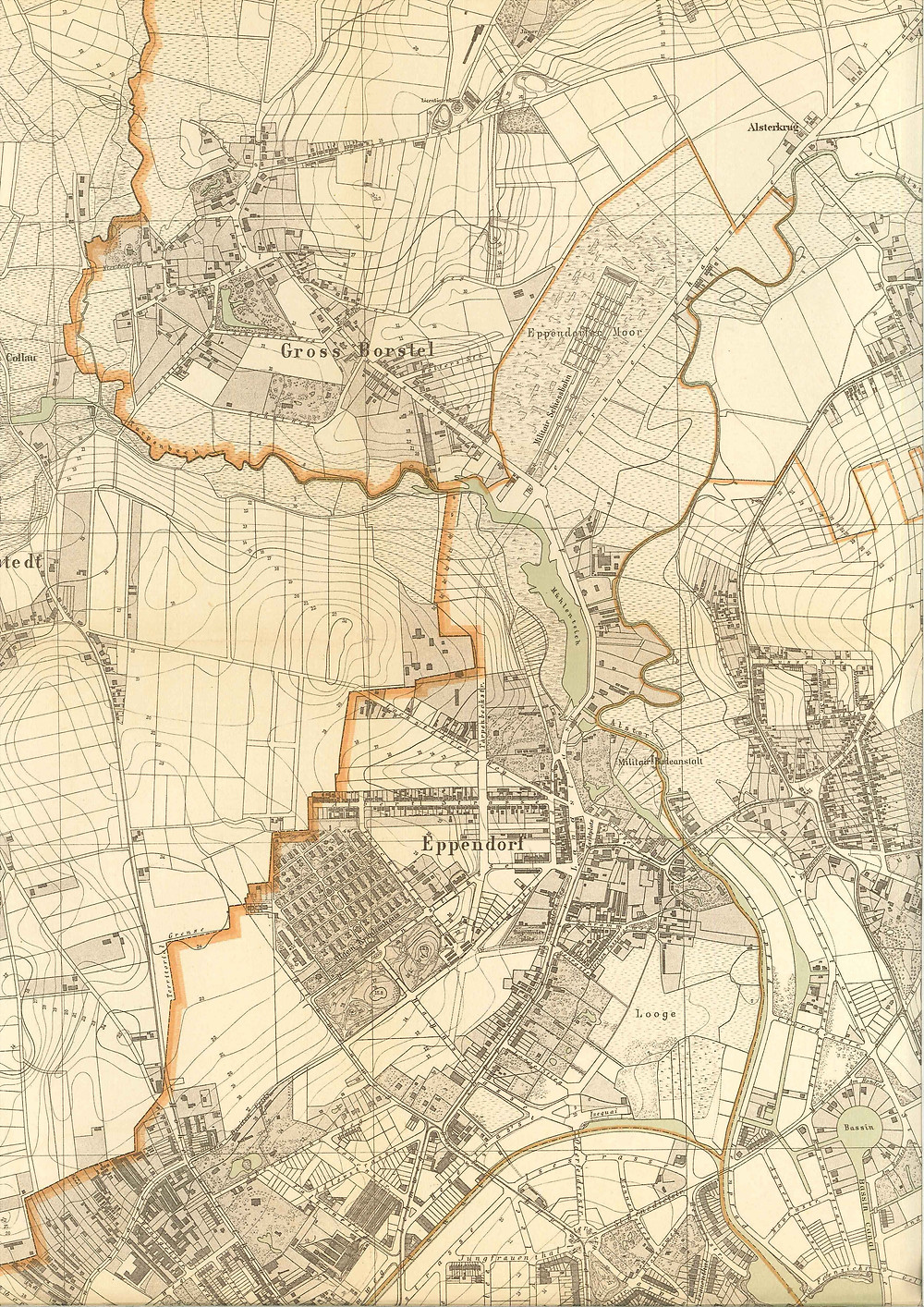 (1) Eppendorf März 1895 © Vermessungsamt der Baudeputation