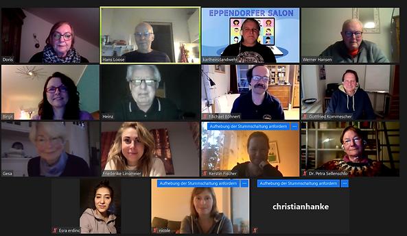 Bild einer Videokonferenz mit 13 Teilnehmern