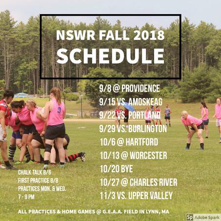 Fall 2018 Schedule YAAAAASSSSS