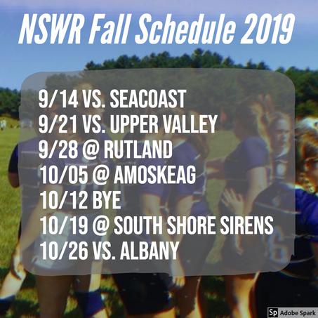 Fall 2019 Schedule!