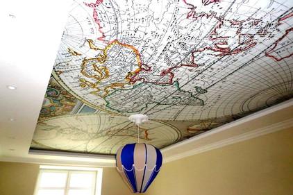 Двухуровневый натяжной потолок с фотопечатью