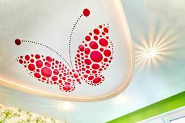 Двухуровневый потолок с 3D- перфорацией и подсветкой