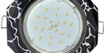 КОМПЛЕКТ Ecola светильник металл-стекло встр. 8-угольник с лампой