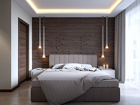 современный потолок в спальне