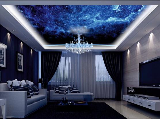 Фотопечать на потолке с подсветкой в уровне