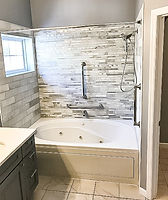 white and grey shower