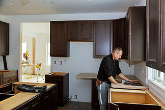 carpenter in kitchen