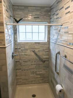 grey tile window in shower bathroom