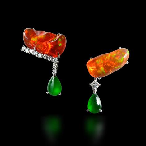 墨西哥 火蛋白石耳環
