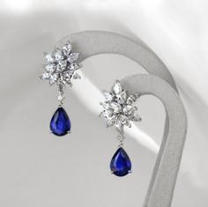 藍寶石  水滴型藍寶耳環