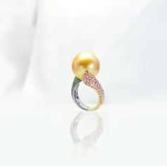 珍珠  16.98mm金色南洋珠戒
