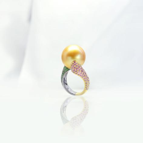 珍珠  16.98mm天然 金色南洋珠戒