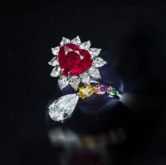 紅寶石  心型緬甸紅寶鑽戒
