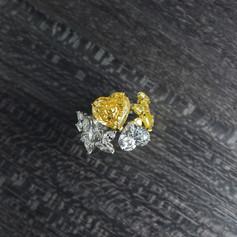 鑽石  GIA証 雙心型彩鑽戒