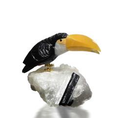 黑碧璽大嘴鳥雕件