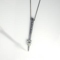 鑽石  18K灰金鑲1.09克拉水滴鑽鍊
