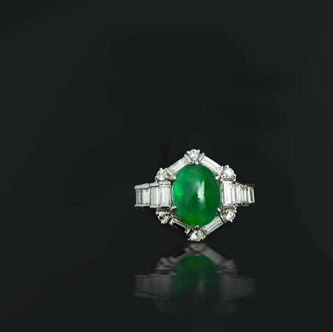 祖母綠  旦面 祖母綠鑽戒