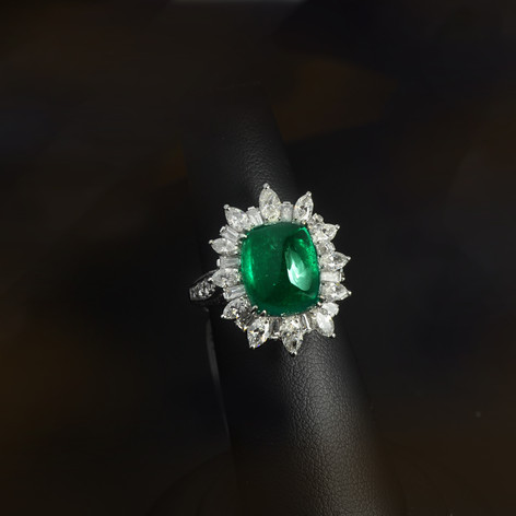 祖母綠  6.95克拉 祖母綠鑽戒