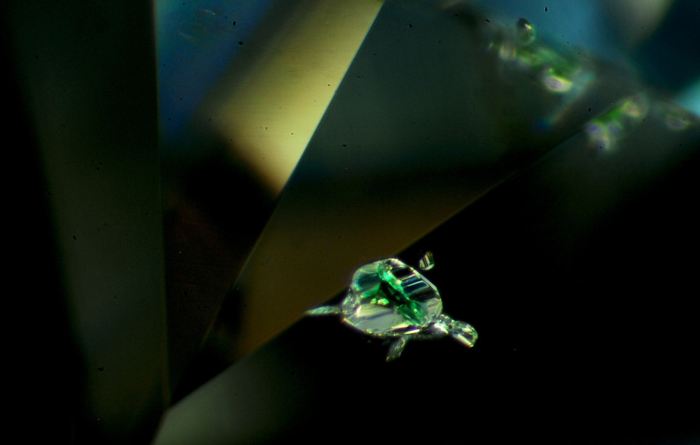 上圖為鑽石中酷似海龜的綠色晶體內含物,喜歡研究寶石內含物的朋友們,一定也想了解那內含物的真實身份。