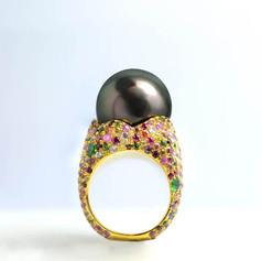 珍珠  16mm 大溪地黑珍珠戒