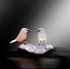 粉紅水晶白水晶尖嘴鳥雕件
