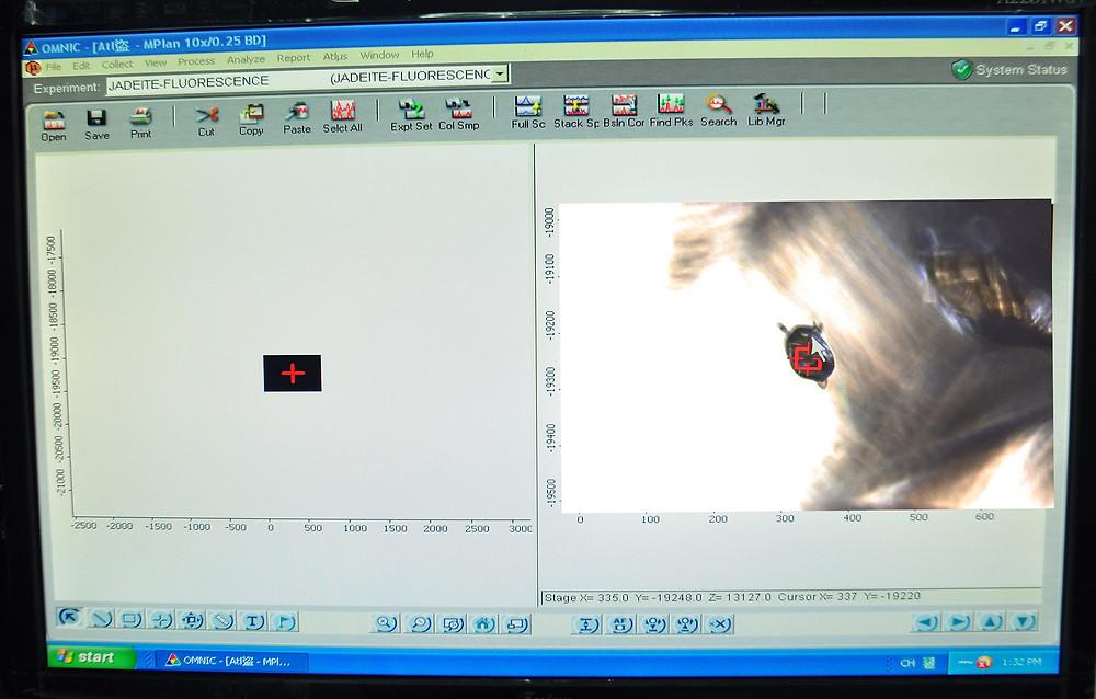 本實驗室之拉曼機台亦可經由專用電腦軟體於電腦上以LiveView方式對焦(本次以Dark Field 暗場照明),清晰地顯示欲測試的標的。