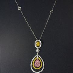 鑽石  GIA証 18K分色彩鑽墜