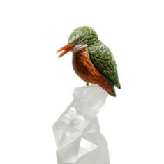蛇紋石翠鳥雕件