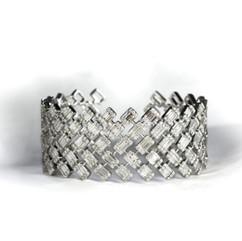 鑽石  18K白方鑽手鐲