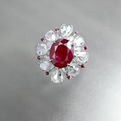 紅寶石  天然緬甸 5克拉紅寶石鑽戒