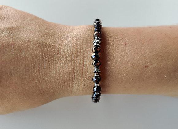 Armbandje - zwart/zilver