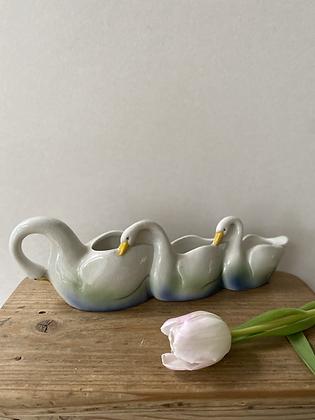 Trio of Swimming Swans Planter